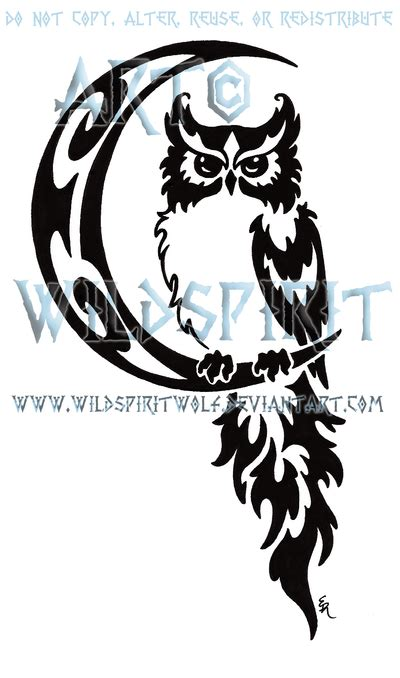 celtic owl and moon by tattoo design on deviantart celestial owl and moon tribal design by wildspiritwolf on