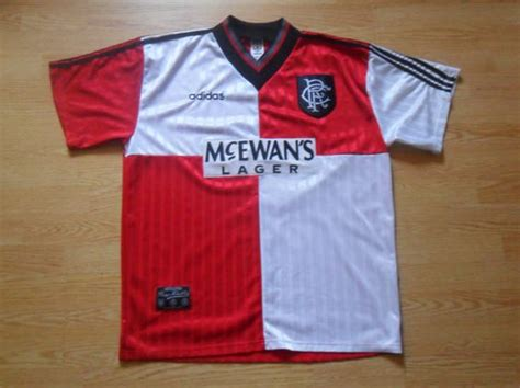 Glasgow Rangers Away 1987 1990 Jersey Original 90 s adidas soccer shirt 1990 s glasgow rangers away jersey mcewan s lager t shirt