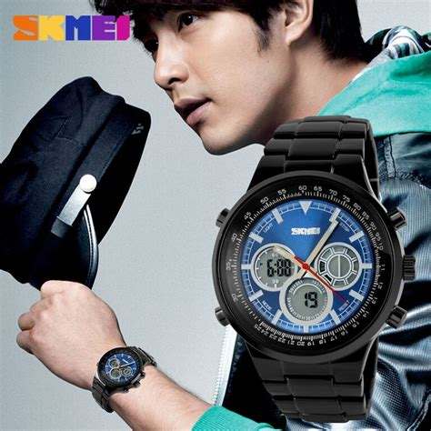 Skmei 9113 Original Water Resistant 50m Black Brown skmei casio sport led water resistant 50m ad1031 black jakartanotebook