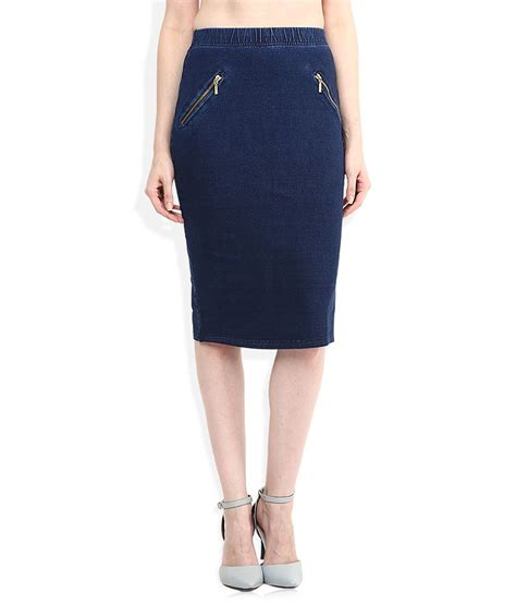 buy and navy solid pencil skirt at best prices in