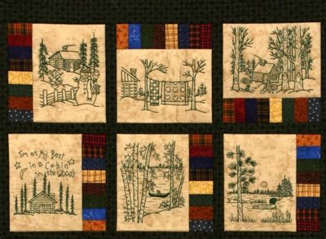 northwoods memories quilt pattern 12 redwork embroidery
