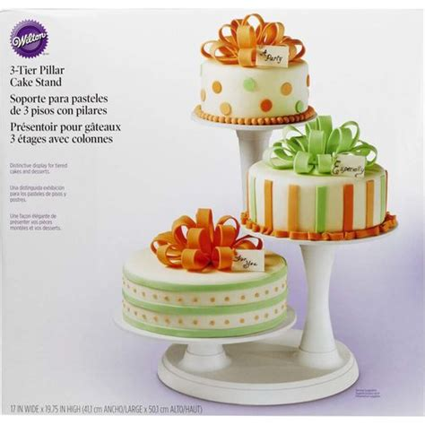 How To Decorate A Tiered Cake by 3 Tier Pillar Cake Stand Wilton