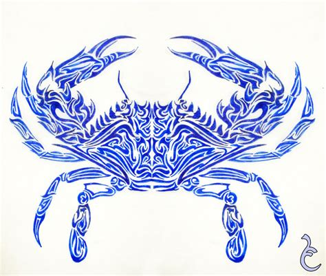 blue tribal tattoo tribal crab sle