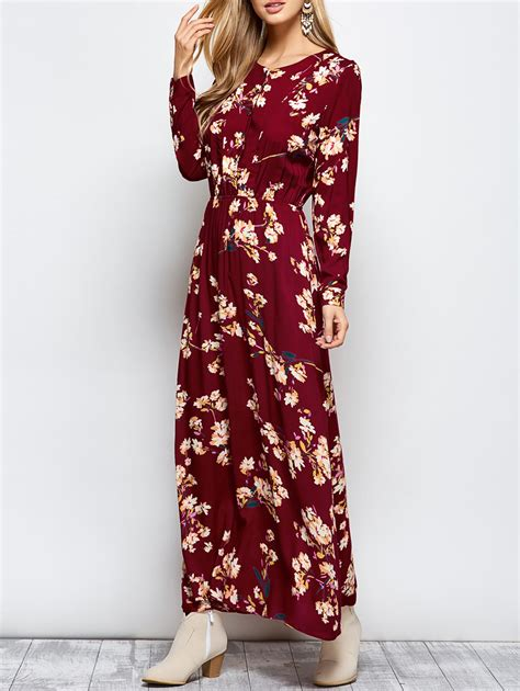 buttoned sleeve maxi floral dress in wine