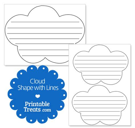 cloud writing paper printable cloud shape with lines printable treats