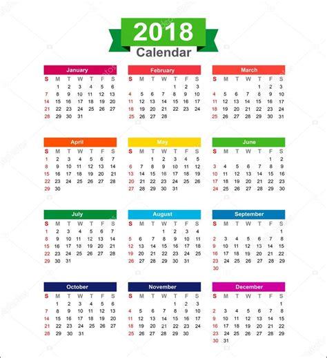 Calendar 2018 Year 2018 Year Calendar Isolated On White Background Vector