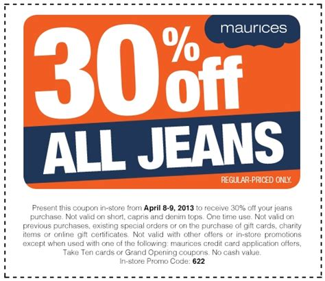 maurices outlet printable coupons maurice s 30 off all jeans regular priced purchase