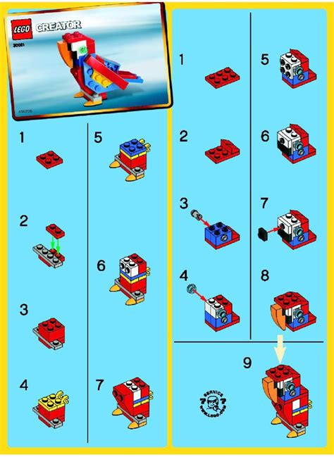 printable lego animal instructions lego parrot instructions 30021 creator