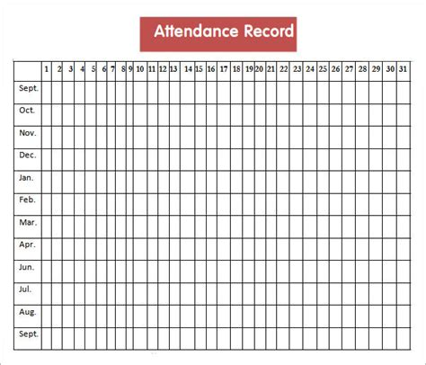 monthly employee attendance record template attendance sheet templates 10 free documents