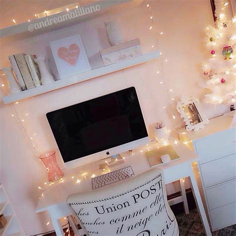 how to decorate a bureau for christmas in a tiny cottage white desk lights girly office decor bright imac floatingshelves ikea