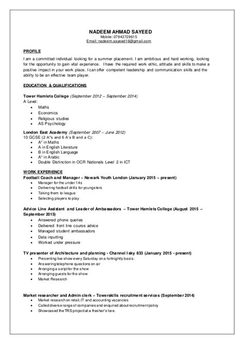 Resume Examples For Industrial Jobs by Nadeem Cv Part Time Jobs