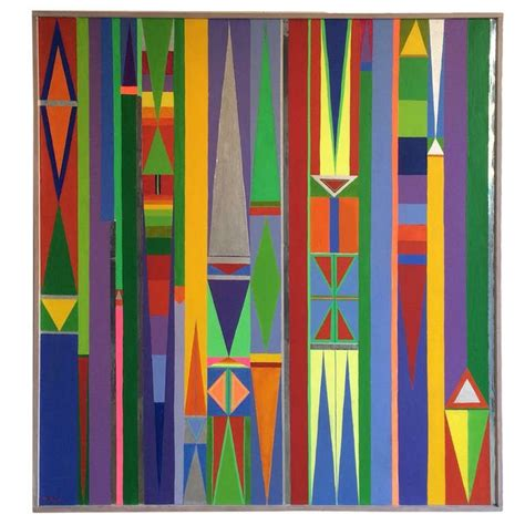 1960's Geometric Hard Edge Painting at 1stdibs