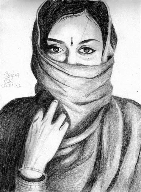 Indian Woman by qia95 on DeviantArt | Indian drawing