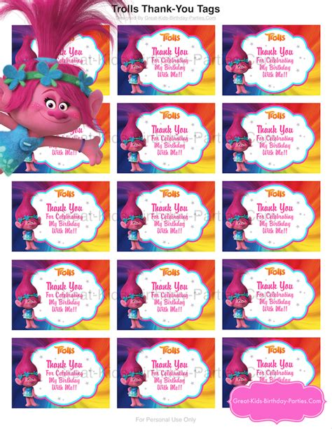 printable party decorations birthday trolls party