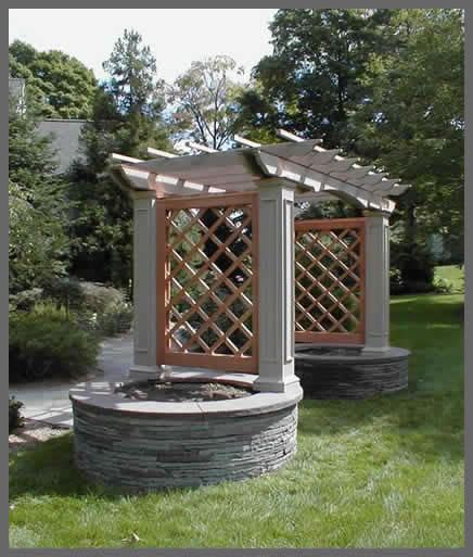 Arbor With Planters by Arbour With Trellis Planters