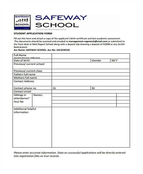 safeway application form application forms exle