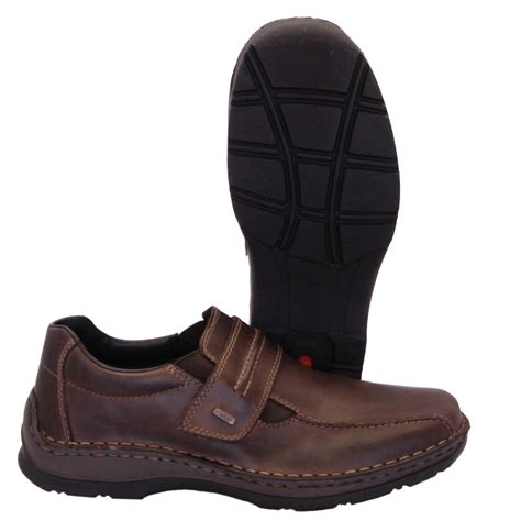 mens boots velcro rieker anton mens casual wide fitting shoes in brown