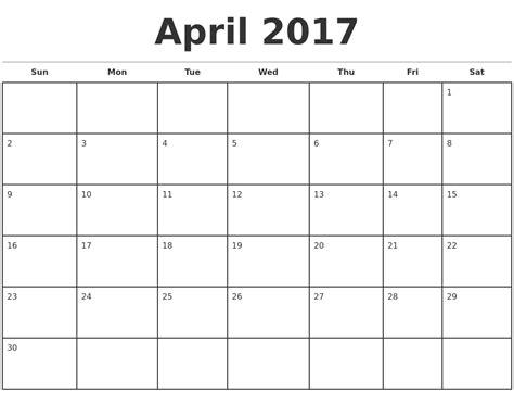 Blank Monthly Calendar 2017   calendar yearly printable