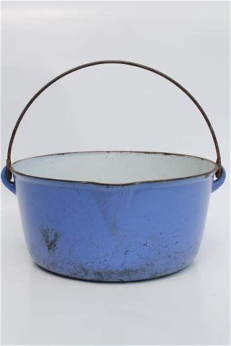 enamel cast iron farmhouse primitive old blue white enamel cast iron pot w wire