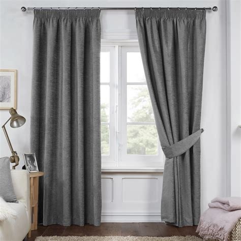 curtains in dante charcoal grey luxury soft chenille lined pencil
