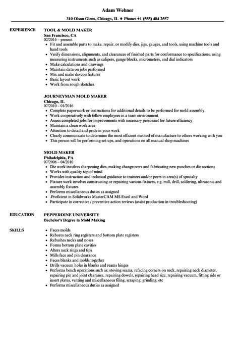 Exles Of Well Written Resumes by Mold Maker Finished Resume Exles Business Charts