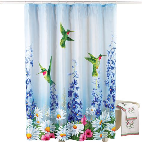 Hummingbird Shower Curtain by Garden Bliss Hummingbird Shower Curtain Blue By