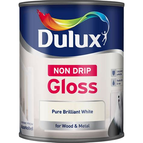 gloss paint dulux non drip gloss paint pure brilliant white 750ml at