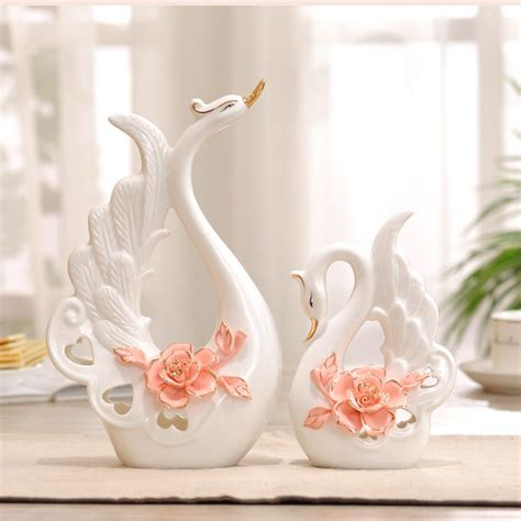 ceramic home decor white ceramic swan home decor crafts room decoration