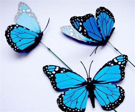 12x colorful 3d artificial butterflies with iron wire