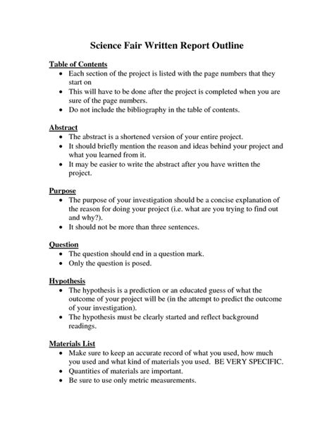 science fair report template project report writing format for students national