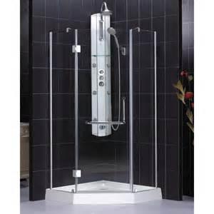 Black Showering by Black Tiled Corner Shower Showers Picture