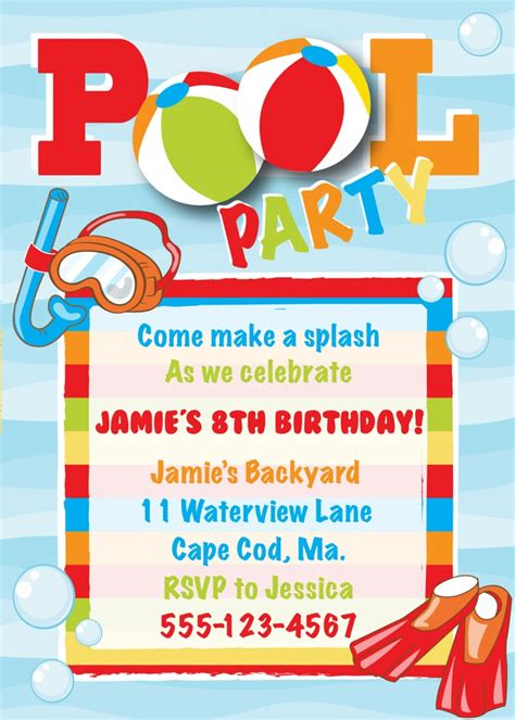 boy birthday invitation templates pool birthday invitation boy mars the o jays