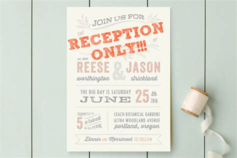 How To Word Wedding Invitation When Reception Is by Reception Only Wedding Invitations That Won T Make Your