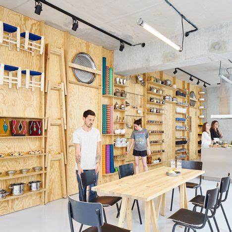 workshop layout for cookery tools and furniture hook onto a plywood wall in paris