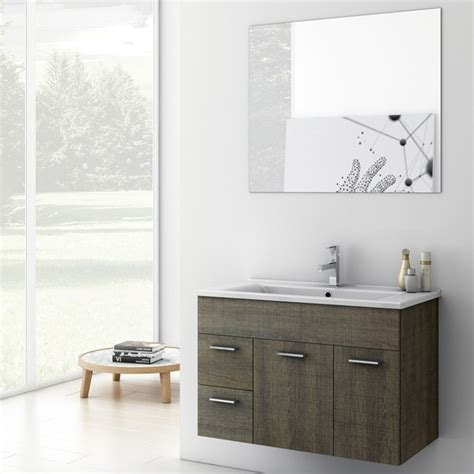 33 Inch Bathroom Vanity Cabinet by Modern 32 Inch Loren Vanity Set With Ceramic Sink Larch