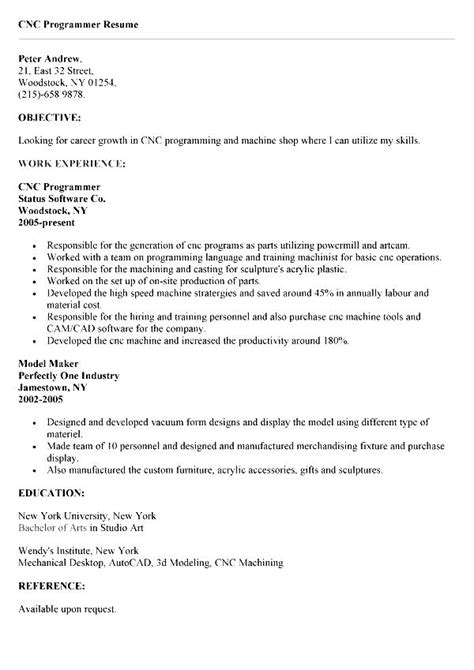 cnc programmer resume sle cnc experience resume synonyms for 28 images resume