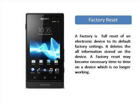 reset software sony xperia sony xperia sola factory reset youtube