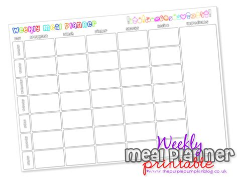 free printable menu planner with snacks 6 best images of free printable meal planner with snacks