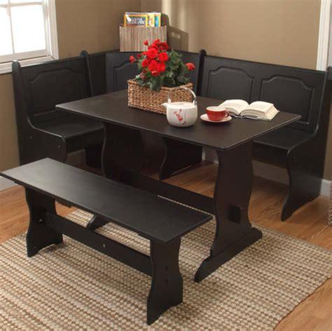 Kitchen Nook Table Sets Black Kitchen Dining Room Wood Corner Breakfast Nook Table Bench Chair 3pc Set Ebay