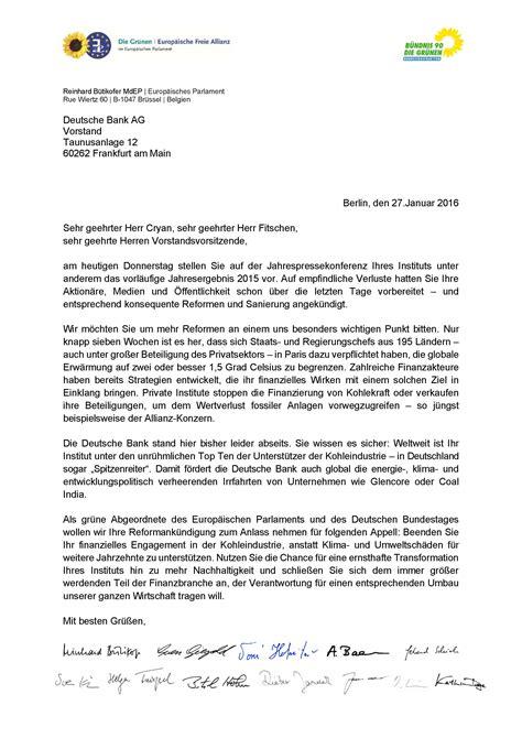 Urlaub Brief Beispiel Offener Brief An Den Vorstand Der Deutschen Bank Verantwortung Wahrnehmen Und Kohlefinanzierung