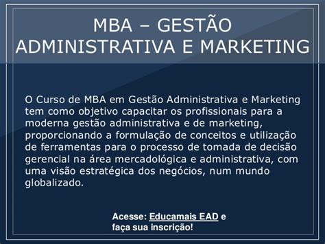 Mba Ead by Mba Gest 227 O Administrativa E Marketing P 243 S Educa Ead