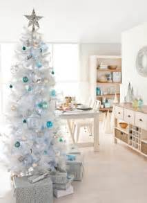 white tree ideas blue decorations