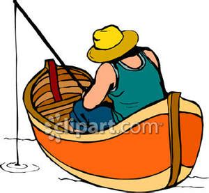skiff orangutan a man fishing in a boat royalty free clipart picture