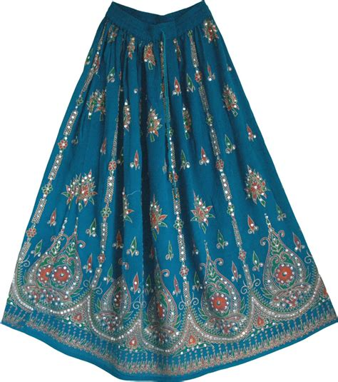 teal blue sequin skirt with floral motifs clearance