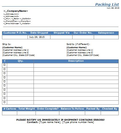 Shipping Packing List Template For Word Excel 174 Packing List Template