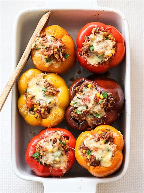 stuffed bell peppers with ground beef recipe foodiecrush com