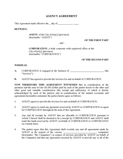 canada agency agreement legal forms and business