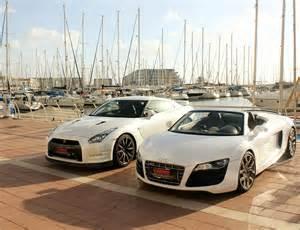 Audi R8 Vs Nissan Gtr Audi R8 V10 Spyder And Nissan Gt R R35 By Daharid On