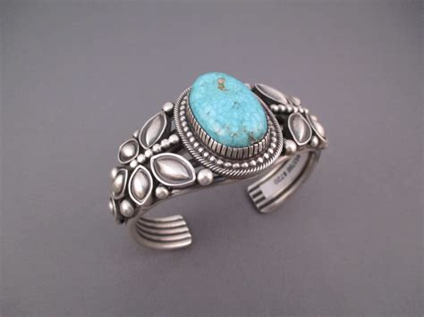 br3766 sterling silver and kingman turquoise cuff bracelet