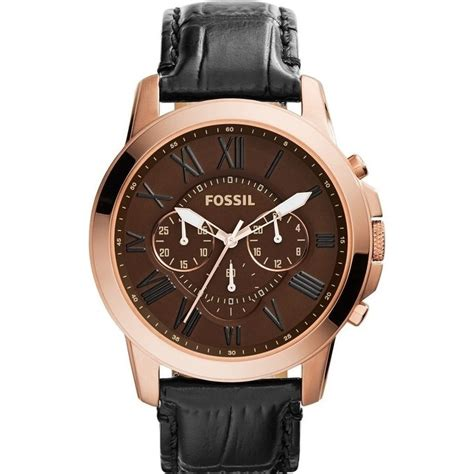 Fossil M1157 Rosegold Black Leather fossil grant mens gold and black leather buy s watches